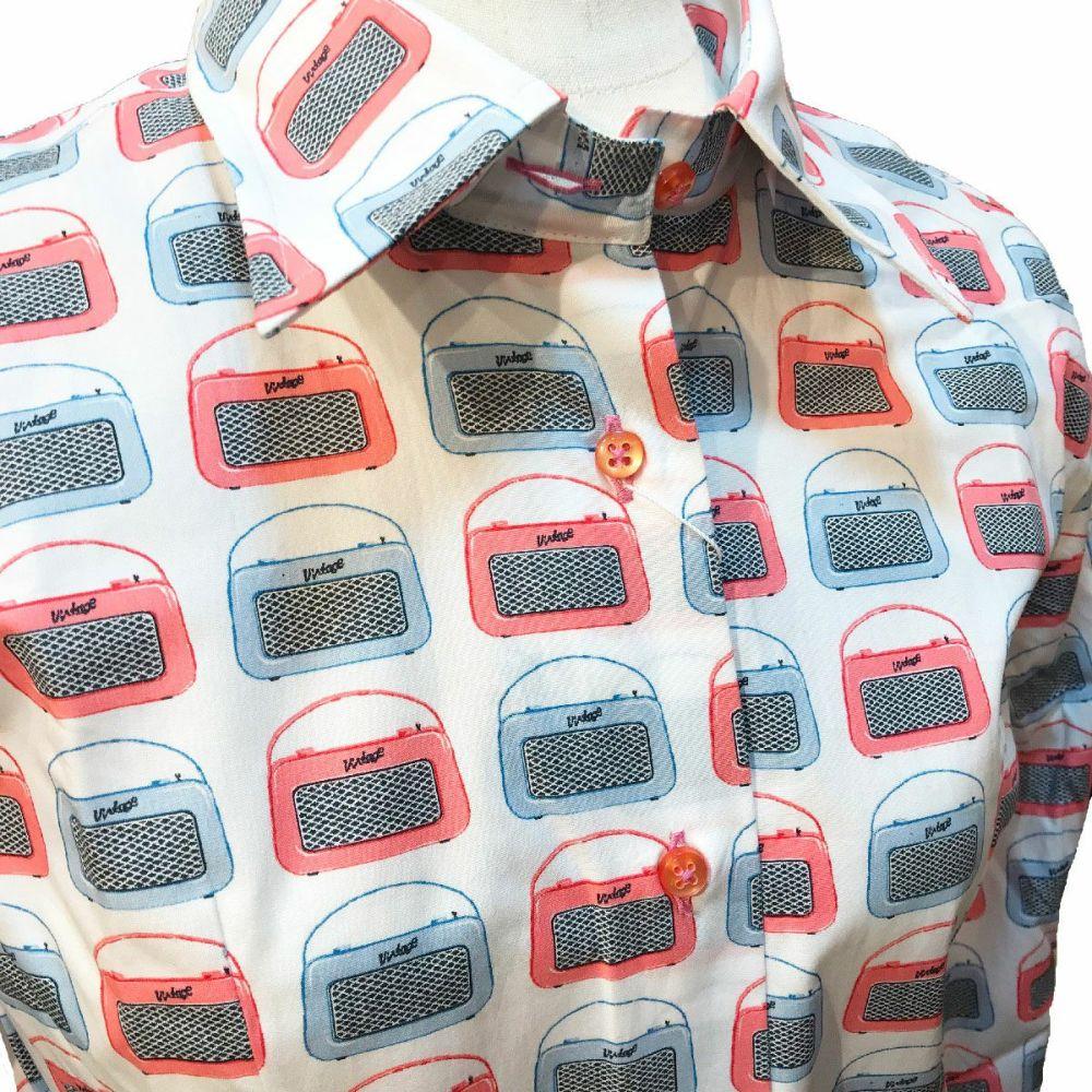ビンテージラジオ柄シャツアップ|フランス・パリのメンズシャツ・レディースシャツの専門店CotonDoux(コトンドゥ)