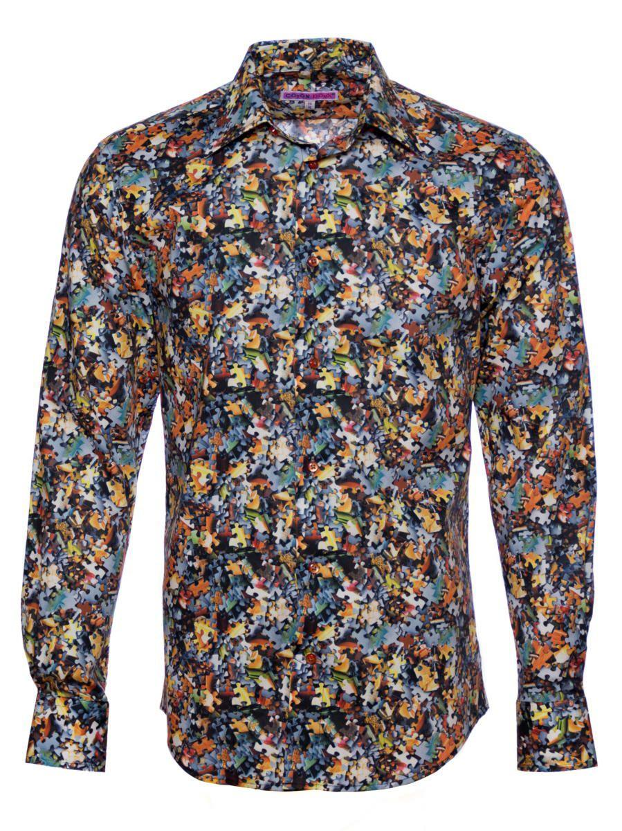 メンズシャツ 柄シャツ コトンドゥ 長袖 ブランド ジグソーパズル